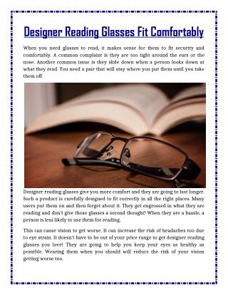Designer Reading Glasses Fit Comfortably