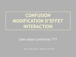 CONFUSION  MODIFICATION D'EFFET INTERACTION