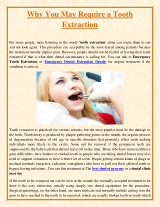 Why You May Require a Tooth Extraction