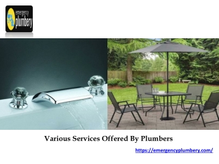 Various Services Offered By Plumbers