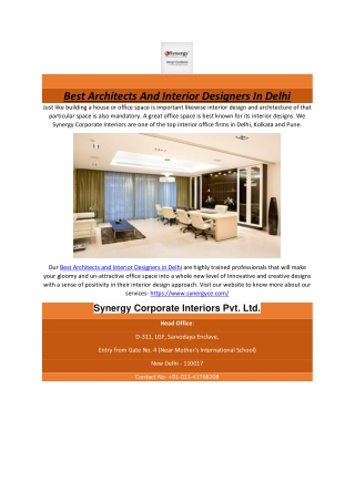 Best Architects And Interior Designers In Delhi