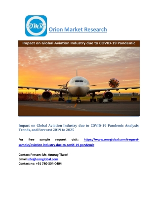Impact on Global Aviation Industry due to COVID-19 Pandemic Analysis, Trends, Forecast 2019 to 2025