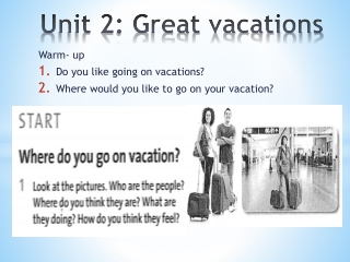 Unit 2: Great vacations