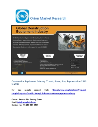 Construction Equipment Industry Trends, Share, Industry Size, Growth 2019 to 2025