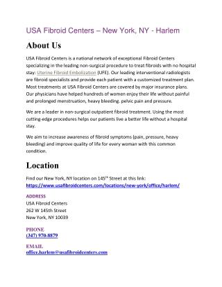 USA Fibroid Centers – New York, NY - Harlem