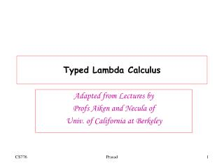 Typed Lambda Calculus