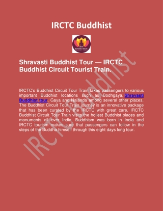 Shravasti Buddhist Tour With Buddhist Circuit Tourist Train   IRCTC Buddhist