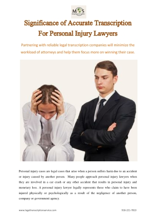 Significance of Accurate Transcription For Personal Injury Lawyers