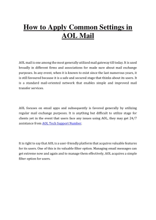 How to Apply Common Settings in AOL Mail