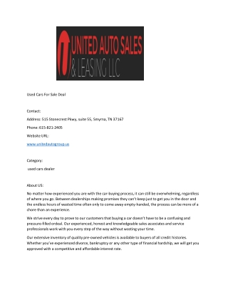 Used Cars For Sale Deal