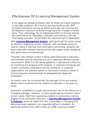 Effectiveness of learning management system