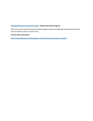 HouseMaid Recruitment Agencies Dubai - Alliance Recruitment Agency
