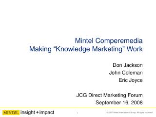 "Mintel Comperemedia Making ""Knowledge Marketing"" Work"