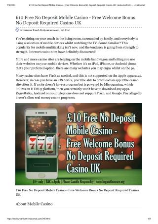 £10 Free No Deposit Mobile Casino - Free Welcome Bonus No Deposit Required Casino UK