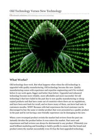 Old Technology Verses New Technology | Code Safe