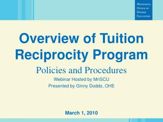 Overview of Tuition Reciprocity Program
