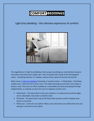 Light Grey Bedding – the ultimate experience of comfort