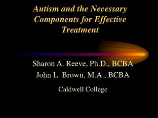 Autism and the Necessary Components for Effective Treatment