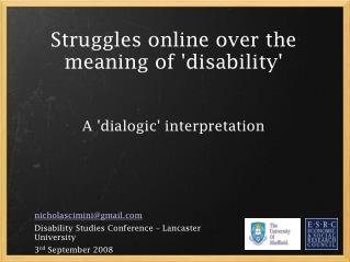 Struggles online over the meaning of 'disability' A 'dialogic' interpretation