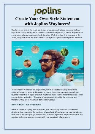 Create Your Own Style Statement with Joplins Wayfarers!