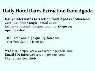 Daily Hotel Rates Extraction from Agoda