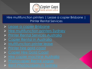 Photocopier Rental Logan