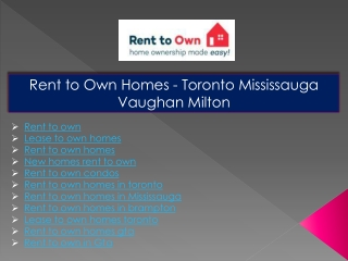 Rent to own homes in brampton