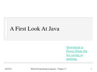 A First Look At Java